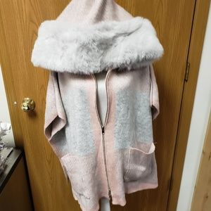 Steve Madden Poncho/Cape with Faux Fur with Hood